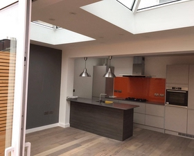 renovated kitchen with roof lanterns